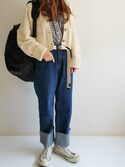 Ayumiさんの「ケーブル編み ニットショートカーディガン(MODE ROBE モードローブ)」を使ったコーディネート