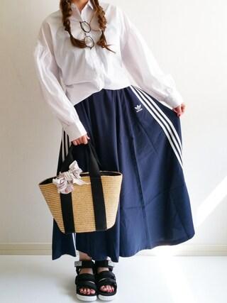 「オリジナルス スカート[3 STRIPES LONG SKIRT](adidas)」 using this Ayumi looks
