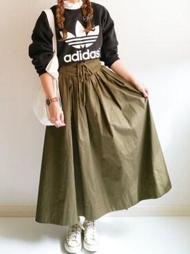 Ayumiさんの「オリジナルス スウェット[TRAIN SNAP SWEAT](adidas|アディダス)」を使ったコーディネート
