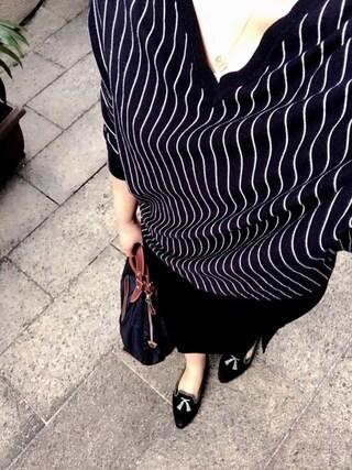 「◆PIN STRIPE Vネック(Deuxieme Classe)」 using this minkukuku looks