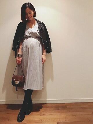 安田美沙子さんの「ライダースジャケット(beautiful people|ビューティフルピープル)」を使ったコーディネート