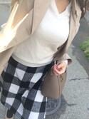 y321さんの「WOMEN カシミヤVネックセーター(長袖)(ユニクロ|ユニクロ)」を使ったコーディネート