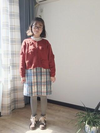 么么酱~さんの「シャギーチェック台形スカート(w closet|ダブルクローゼット)」を使ったコーディネート