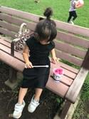 KOHARUさんの「【ママとお揃い】キッズポリテンセルマキシワンピ(CIAOPANIC TYPY)」を使ったコーディネート
