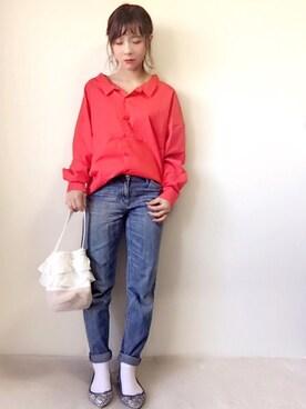 y u m i .さんの「細襟テールカットシャツ2270(merlot|メルロー)」を使ったコーディネート