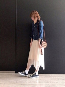 ROPE' PICNIC 阪急西宮ガーデンズ|yuukaさんの「チュールイレギュラーヘムスカート(ROPE' PICNIC)」を使ったコーディネート