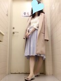 asamiさんの「《andGIRL3月号モデル美香さん着用アイテム》ストライプシャツ×共布ベルト付スカート 【セットアップアイテム】《CanCam4月号掲載アイテム》(31 Sons de mode|トランテアン ソン ドゥ モード)」を使ったコーディネート