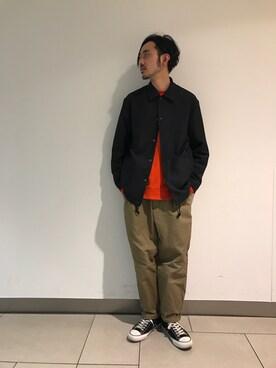 ADAM ET ROPE' 新宿LUMINE2|モリタさんのブルゾン「KENJI. KUBOフォトプリント コーチジャケット(ADAM ET ROPE'|アダム エ ロペ)」を使ったコーディネート