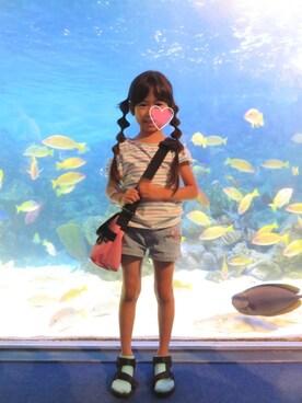 姫まりさんの「シルケットボーダーオープンショルダーTee(CIAOPANIC TYPY|チャオパニックティピー)」を使ったコーディネート