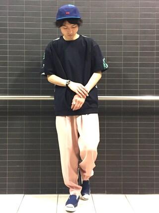 Lui's/EX/stoer難波店|イリザワさんの「ラッセル切替Tシャツ(Lui's|ルイス)」を使ったコーディネート