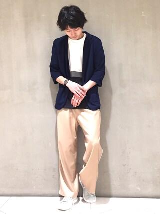 Lui's/EX/stoer難波店|イリザワさんの「COOL MAXリネン鹿の子編カットジャケット(Lui's|ルイス)」を使ったコーディネート