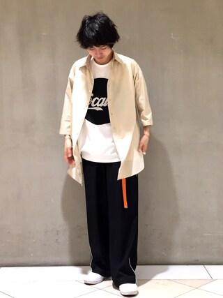 Lui's/EX/stoer難波店|イリザワさんの「7分袖BIGシャツコート(Lui's|ルイス)」を使ったコーディネート