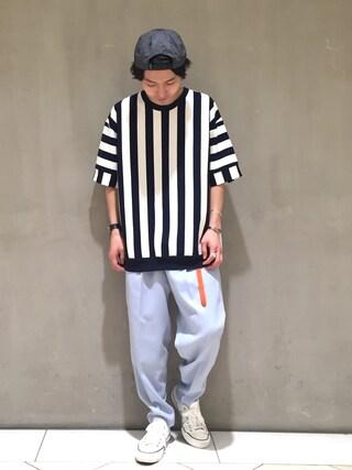 Lui's/EX/stoer難波店|イリザワさんの「ストライプポンチTシャツ(Lui's|ルイス)」を使ったコーディネート