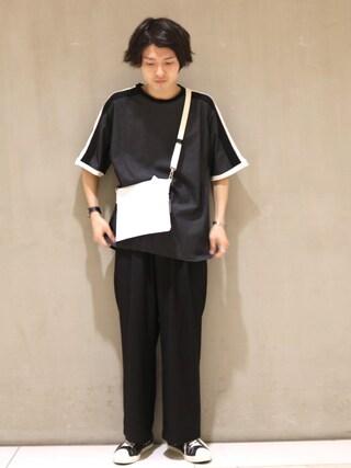 「袖ライン切替Tシャツ(Lui's)」 using this Lui's/EX/stoer難波店|イリザワ looks