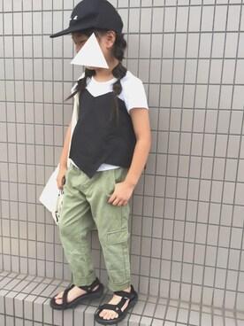 yuuさんの「ビスチェ重ね着風半袖Tシャツ(BRANSHES ブランシェス)」を使ったコーディネート