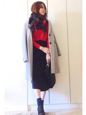 NAnaさんの「【non-no12月号掲載】ウール混ミドル丈チェスターコート(ViS|ユニクロ)」を使ったコーディネート