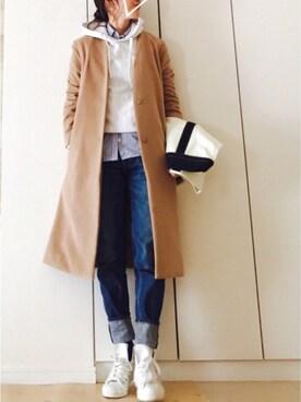 NAnaさんの「【MORE12月号掲載】ノーカラーチェスターコート(ViS)」を使ったコーディネート