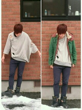 「Damaged Pullover(MIHARAYASUHIRO)」 using this 後藤 looks