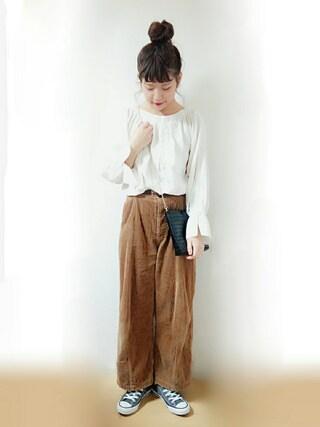 「mat 6w太コール ボタンフライパンツ(mat quotidien)」 using this Suuu * looks