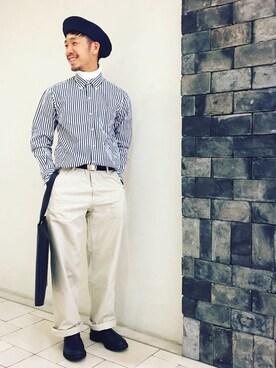 ユナイテッドアローズ 札幌店|kouki yoneuさんのハンチング/ベレー帽「【kijimatakayuki】ペーパーベレー(KIJIMA TAKAYUKI|キジマ タカユキ)」を使ったコーディネート