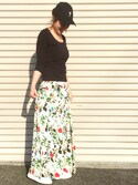 EMIOHIさんの「【再入荷】ボタニカル花柄スカート(TRUNO by NOISE MAKER|トルノバイノイズメーカー)」を使ったコーディネート