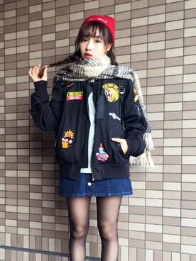 村瀬紗英さんの「Fボタンダイケイスカート 726909(Heather|ヘザー)」を使ったコーディネート