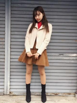 村瀬紗英さんの「フェイクスウェードライダースジャケット(dazzlin|ダズリン)」を使ったコーディネート