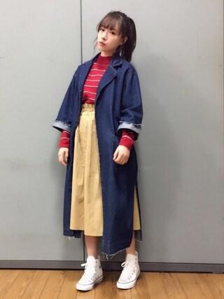 村瀬紗英さんの「ラインボーダーU/N knit(EMODA|エモダ)」を使ったコーディネート