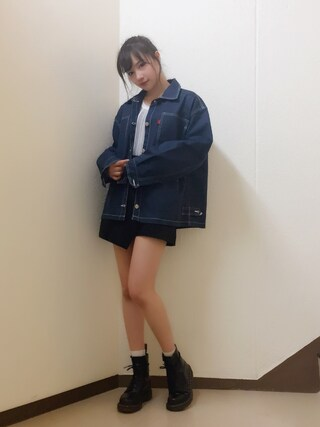 村瀬紗英さんの「クリアストライプニット(EMODA|エモダ)」を使ったコーディネート
