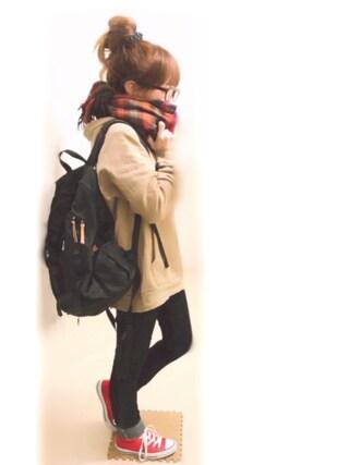 ぷぷこ  ༘*さんの「【WEB限定アイテム】SWEAT HOODIE TOP(X-girl エックスガール)」を使ったコーディネート