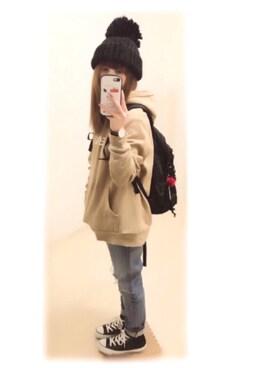 ぷぷこ  ༘*さんの「【WEB限定アイテム】SWEAT HOODIE TOP(X-girl|エックスガール)」を使ったコーディネート