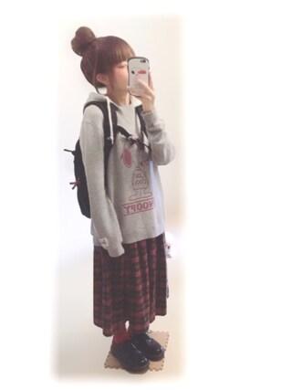 ぷぷこ  ༘*さんの「【スヌーピー】 SNOOPY SWEAT PULLOVER(X-girl|エックスガール)」を使ったコーディネート