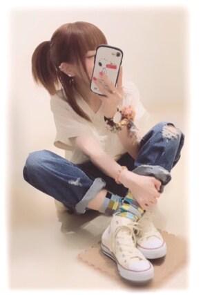 ぷぷこ  ༘*さんの「keisuke kanda / すけすけの野球シャツワンピース(keisuke kanda|ケイスケカンダ)」を使ったコーディネート
