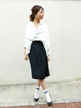 maiさんの「ハイカウントコットンAラインスキッパーシャツ#(JOURNAL STANDARD|ジャーナルスタンダード)」を使ったコーディネート