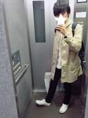つるちゃんさんの「DANTON × BEAMS / 別注 ステンカラーコート 17SS(BEAMS ビームス)」を使ったコーディネート