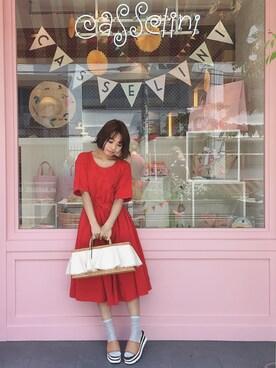 Casselini shop|杉本潤香さんの「ウェッジサンダル(Casselini|キャセリーニ)」を使ったコーディネート