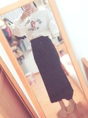 saaku*さんの「WOMEN メリノブレンドリブスカート(ユニクロ)」を使ったコーディネート