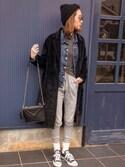 asukaさんの「カットメルトンチェスターコート ロングコート ロングチェスター(MODE ROBE|モードローブ)」を使ったコーディネート