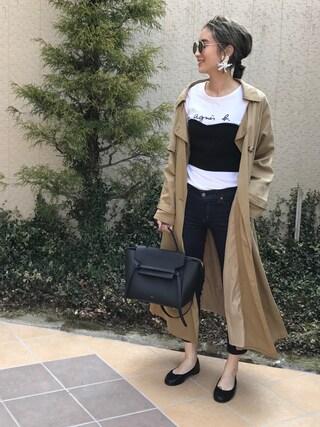 asukaさんの「【Lady like】テンセルロングトレンチコート(Ungrid アングリッド)」を使ったコーディネート