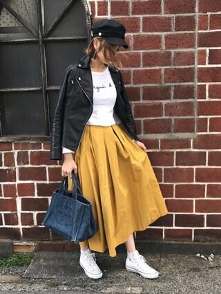 asukaさんの「ボリュームフレア立体シルエットウエスト後ろゴムロング丈スカート(select MOCA|セレクトモカ)」を使ったコーディネート