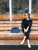 「Prada Canvas Mini Logo Tote with Strap, Cobalt Blue (Azzuro)(Prada)」 using this asuka looks
