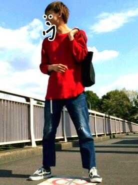 坂口健太郎になりたい人生さんの「【ジュニアサイズ対応】リブ付き テーパードデニム(Lee|リー)」を使ったコーディネート