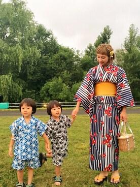 haku♡sakuさんの「椿柄浴衣(koe)」を使ったコーディネート