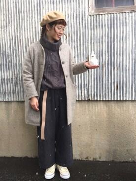 ☆★gizmo★☆さんの「ヘリンボンウールワイドパンツ(ehka sopo|ehka sopo)」を使ったコーディネート