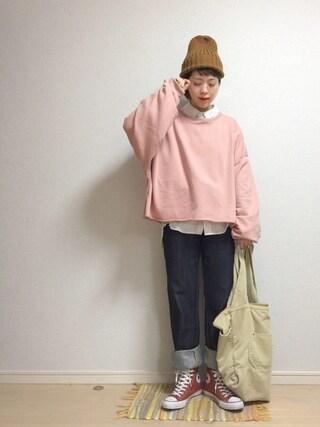 「ビッグシルエットスウェットトップス4950(merlot)」 using this ☆★gizmo★☆ looks