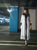 志帆さんの「シシュウガウンワンピース7分袖/737500(GLOBAL WORK|グローバルワーク)」を使ったコーディネート