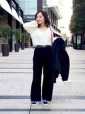 sa♡さんの「<大桑マイミさん着用>ハイウエストコーデュロイワイドパンツ(STYLEST スタイレスト)」を使ったコーディネート