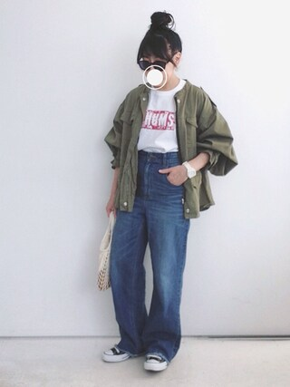 SACHIさんの「【CHUMS×Le Magasin】 BOAT LOGO Tシャツ(Adam et Rope' Le Magasin アダム エ ロペ ル マガザン)」を使ったコーディネート