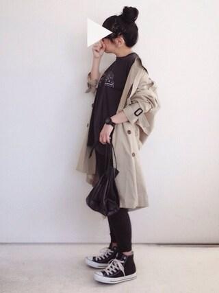 SACHIさんの「ウォッシュドロックテイストTシャツ【niko and ...】(niko and... ニコアンド)」を使ったコーディネート