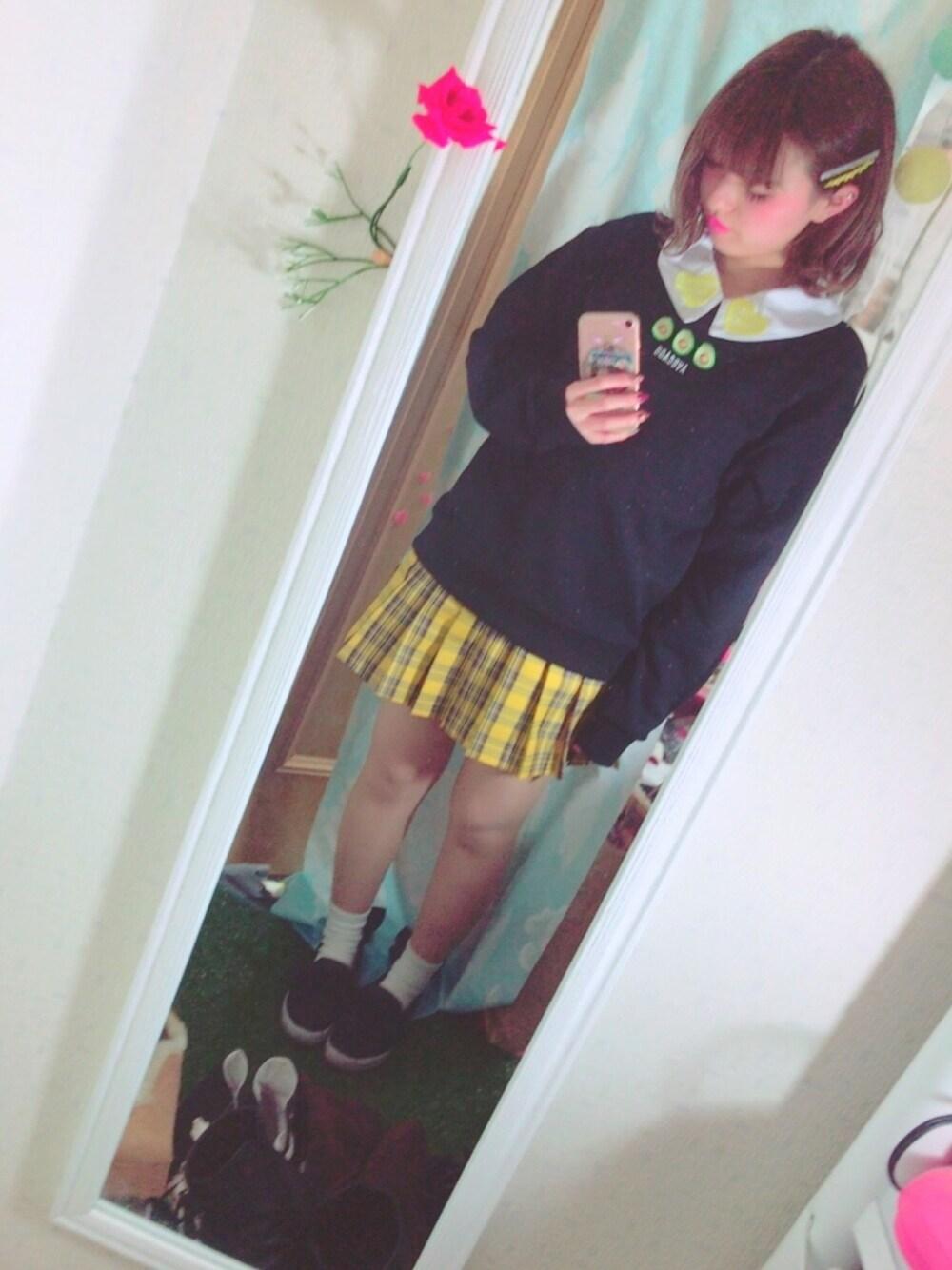 黄色チェックスクールガール♡